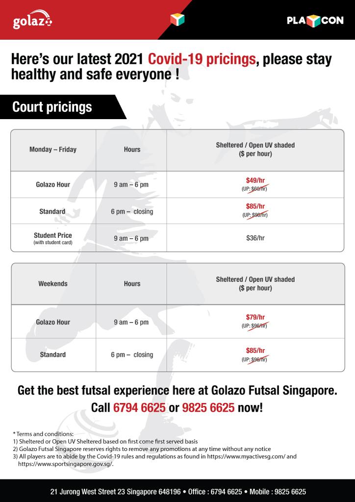 Golazo Futsal Singapore - Pricings 2021